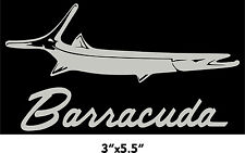 PLYMOUTH BARRACUDA  sticker cuda other colors too Metallic Silver Vinyl Decal