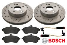 For Mercedes - C-Class 08-16 204 Front Drilled Brake Discs & Pads +Sensors BOSCH