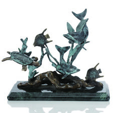 SPI Home Dolphin Seaworld Seascape Sculpture Statue Brass Marble Turtle Coastal