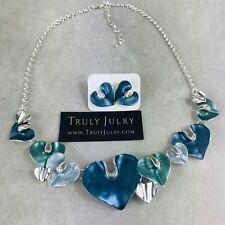 UK Ladies Designer Silver Blue Heart Necklace Earring Set Jewellery