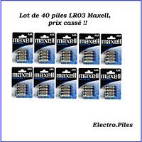 Set de 40 Pilas LR03 ,AAA, de Marca Maxell, Promoción Precio Tirado