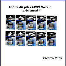 Lot of 40 battery LR03, AAA, brand Maxell, PROMO PRICE broken