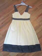 REVIEW, GORGEOUS YELLOW AND GREY SATIN TRIM DRESS SIZE 8