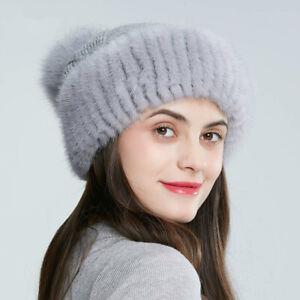 Women's Hats Fox Fur Pom Pom Woolen Hat Mink Knitted Hat Flanging Simple Beanie