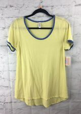 LuLaRoe, NEW With Tags; Classic Tee, Small S; Solid Yellow With Blue Edging