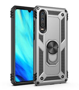 For Huawei P30 Pro Lite Nova 4e Shockproof Case Metal Magnetic Ring Car Holder