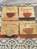 """Ceramic Drink Coasters Set of 4 Coffee in France 4 1/4"""" Coasters with Cork Back"""