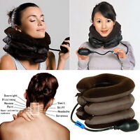 KE_ Universal Inflatable Neck Traction Collar Pain Relief Cervical Pillow Devi