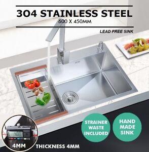 600x450mm Handmade Stainless Steel Under / Top mount Kitchen Laundry Single Sink