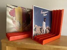 (2) Vintage Orange Record Album Vinyl Holders - Pair