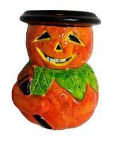 "Vintage Halloween Pumpkin Planter By Unicorn Rare Cute  5 1/2"""