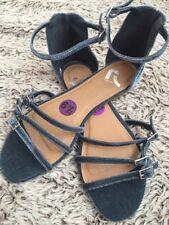 Report Footwear Velvet Strappy Sandals Flats Women's 6.5 Dusty Blue PLEASE READ!