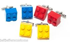 3 Pairs GENUINE LEGO BRICK CUFFLINKS Funky Groomsmen Best Man Wedding Gift Set