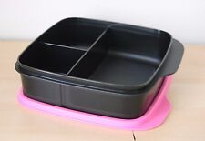 Tupperware Lunch Square Divided Packette Lunch Box Black/Pink Color  New