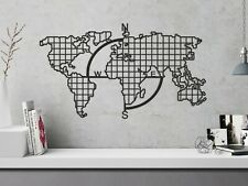 Metal Wall Decor,Metal Compass Grid World Map Wall Decor, Metal Poster