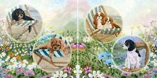 CAVALIER KING CHARLES  SPANIEL COLLAGE SET 2 GLOSSY HARDBOARD PLAQUES TILES