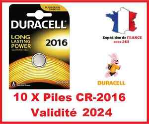 10 Piles CR-2016 DURACELL bouton Lithium 3V DLC 2026