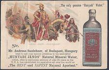 HUNGARY US 1897 BUDAPEST PREPRINTED POSTAL CARD ADVERTISING HUNYAH WATER BY SIR
