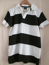 mens DONNAY WHITE & NAVY STRIPED COTTON POLO SHIRT SIZE LARGE