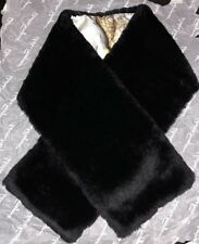 Salvatore Ferragamo Black Orylag Fur & Silk Stole Scarf Neck Wrap NIB