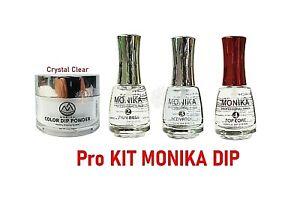 MONIKA DIP PRO KIT - Clear Color Set Powder 2 oz  + Thin Base, Activator, Top