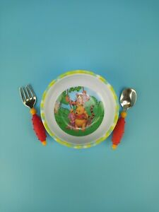 Gerber 12m Baby Spoon Fork Set Red Yellow & Zak Designs Winnie The Pooh Bowl