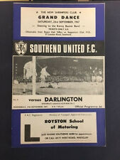 13/09/1967 Southend United v Darlington, League Cup Round 2