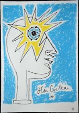 """Lithographie de JEAN COCTEAU   """" l'Oeil , soleil  """" , signée , cachet d'atelier"""