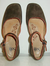 Sofft brown leather suede mary janes flats shoes buckle strap-6.5