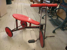 Vintage Rustic Metal Tricycle Painted Red Wooden Seat Children