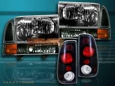 99-04 FORD F250 F350 SUPER DUTY HEADLIGHT BLACK+ BLACK CORNER + BLACK TAIL LIGHT