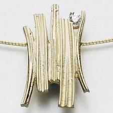 Ola Gorie 9 Ct Oro Amarillo Woodwick Colgante Con Diamante Cable Omega En Caja