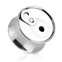 Pair Surgical Steel Soda Beer Can Ear Saddle Plugs Tunnels Earlets Gauges