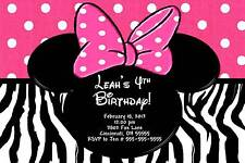 Minnie Mouse Zebra Custom Designed Birthday Party Invitation