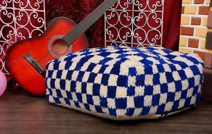 Lovely Moroccan Pouf Cactus Wool Floor Handmade Footstool Ottoman Pouf Pillow