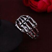 3D Edelstahl Ring Skeletthand Skelett Knochen Biker Totenschädel Gothic