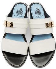 NEW $820 Lanvin 37 6 White Flats Sandals Leather Slip On Mule Slide Gold
