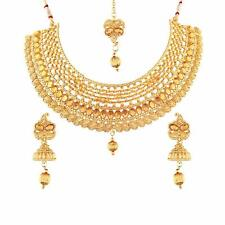 Indian Fashion Jewelry Bollywood Necklace Earrings Tikka Ethnic Gold Plated Set