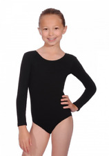Roch Valley  Long Sleeve Leotard Cotton/Lycra Black Dance Fitness Gymnastics