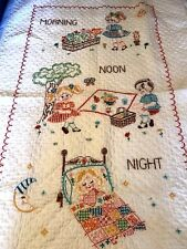 VTG Cross Stitch Baby Blanket Crib Quilt Embroidered Morning Noon Night Coverlet
