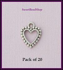 20 Antique Silver Colour 18 x 15mm Fancy Heart Charms Valentine