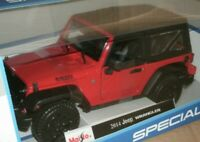 2014 Jeep WRANGLER - Red 1:18 Scale - Special Edition Diecast Model Car - Maisto