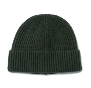 Wool Blend Knit Beanie Hat Ribbed Super Soft Olive Green One Size Stretch
