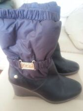 UGG wedge waterproof nylon leather BROWN boots gold sz 10 women rain winter