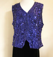 Rina Z Womens Vintage Sequin Beaded Top Sz. Med Blue Sleeveless Snap Front NOS