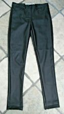 BLACK FAUX LEATHER FITTED JEGGINGS FROM DENIM & CO, SIZE 10