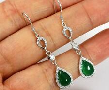 Pretty Solid 925 Sterling Silver, Green Agate,CZ  Drop / Dangle Earrings 0128