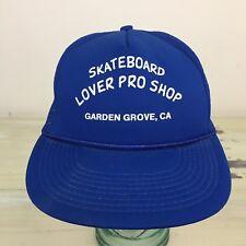 SKATEBOARD LOVER PRO SHOP - Vtg 80s-90s Blue Mesh Trucker Hat, Garden Grove CA