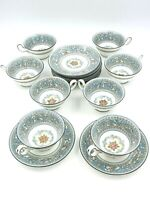 Vintage Wedgwood Florentine Blue Bone China Tea Cup and Saucer Set of 8