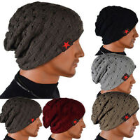 Mens Women Unisex Beanie Baggy Hat Knitted Reversible Winter Warm Slouch Ski Cap